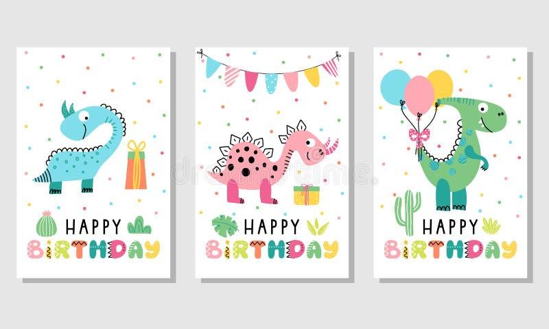 Urodzinowa karta ustawiająca z ślicznymi dinosaurami royalty ilustracja