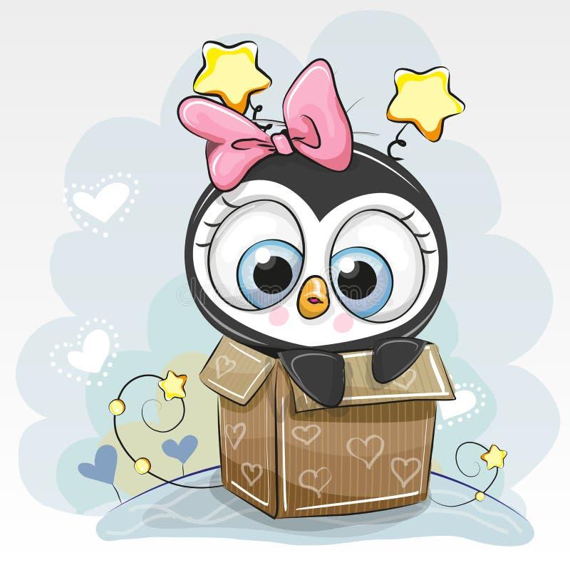 Urodzinowa karta z Śliczną kreskówka pingwinu dziewczyną royalty ilustracja