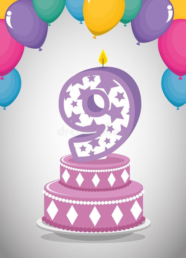 Urodzinowa karta z świeczką liczba dziewięć royalty ilustracja