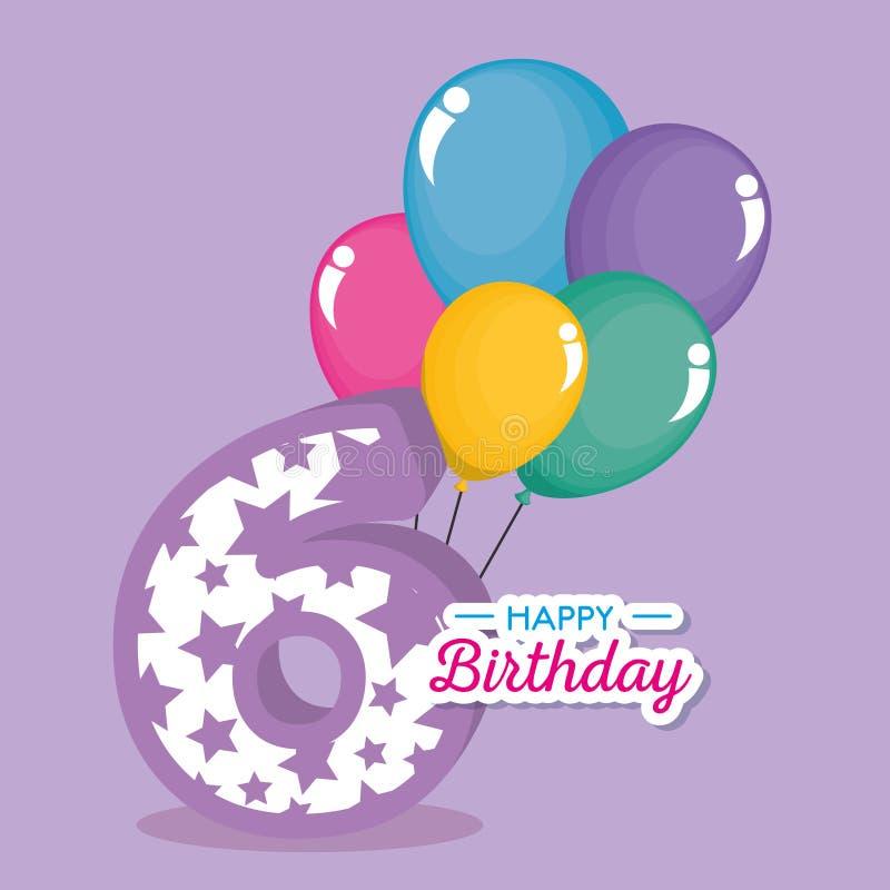 Urodzinowa karta z świeczką liczba sześć ilustracja wektor