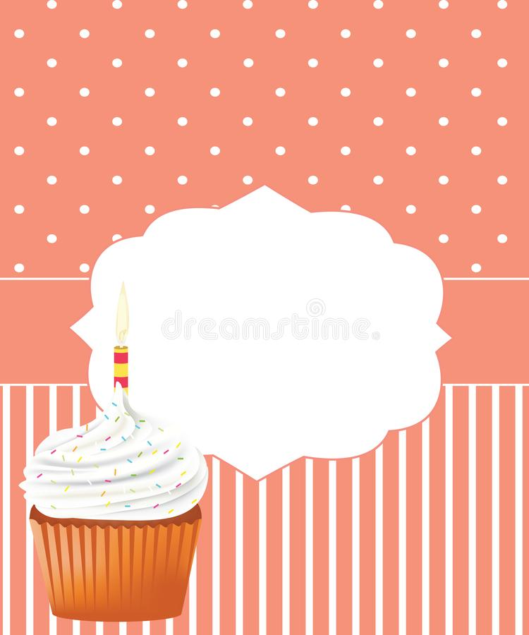 Urodzinowa karta z babeczk? ilustracji