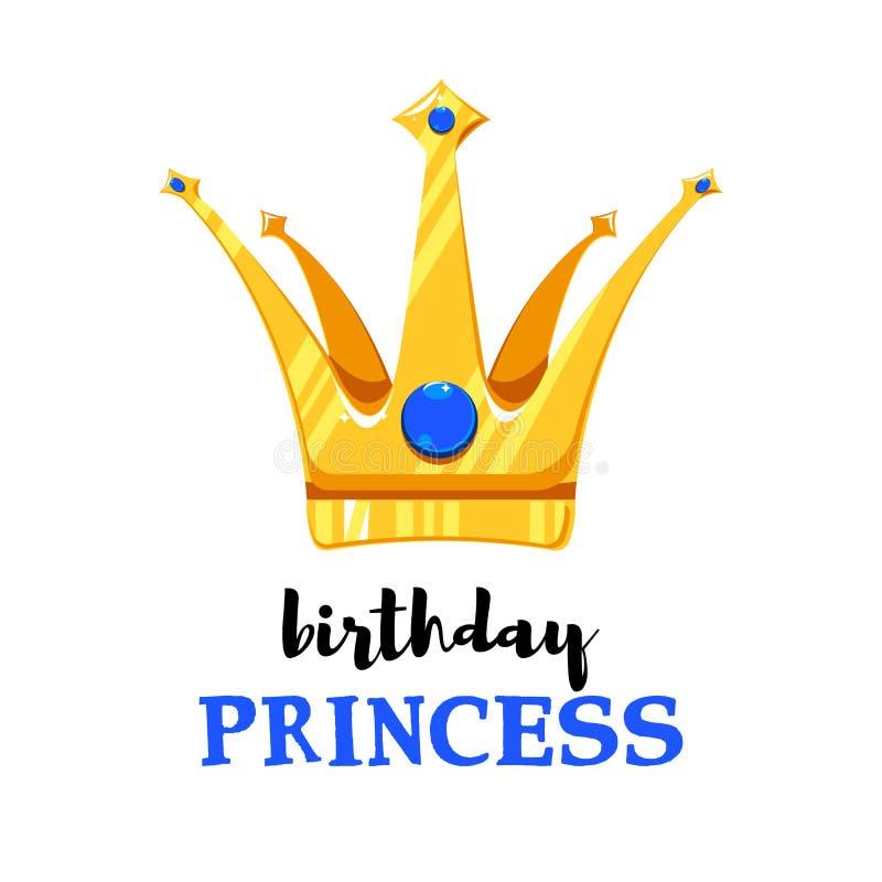 Urodzinowa karta z kresk?wki koron? royalty ilustracja