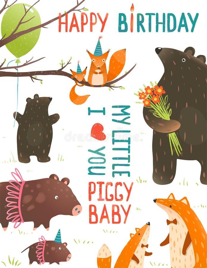 Urodzinowa karta z Lasowymi zwierzę matkami i ilustracja wektor