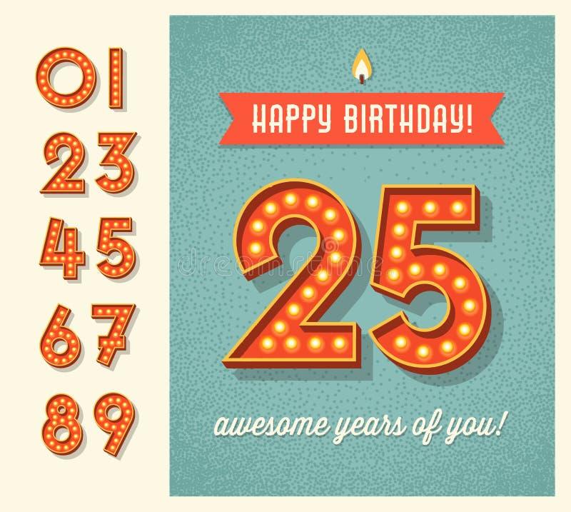 Urodzinowa karta z setem zaświecać retro liczby ilustracja wektor