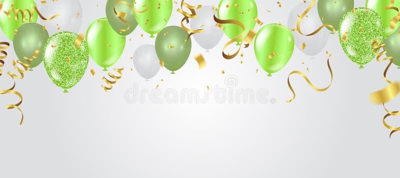 Urodzinowa karta z zielonymi balonami szczęśliwy urodziny royalty ilustracja