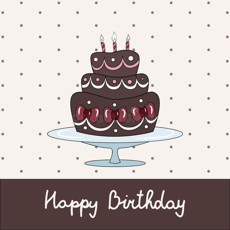 Urodzinowa kartka z pozdrowieniami z czekoladowym tortem royalty ilustracja