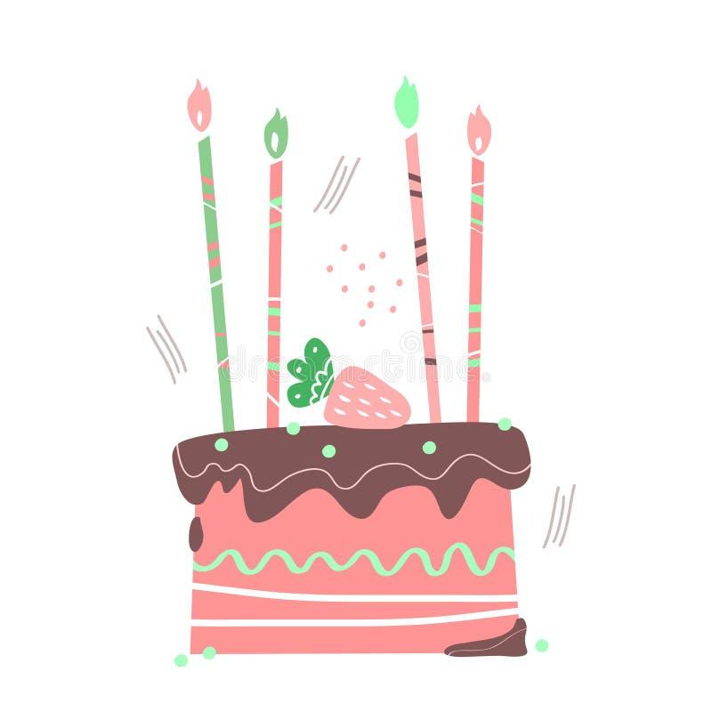 Urodzinowa ręka rysujący słodki prezenta tort ilustracja wektor