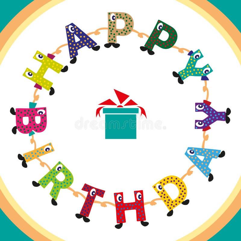urodzinowa szczęśliwa inskrypcja ilustracja wektor