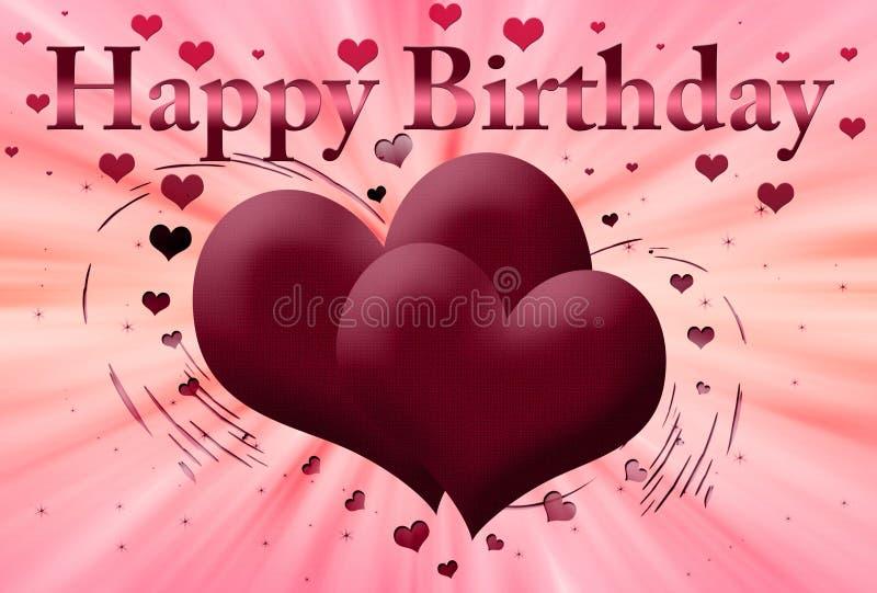urodzinowa szczęśliwa różowa pocztówka ilustracja wektor