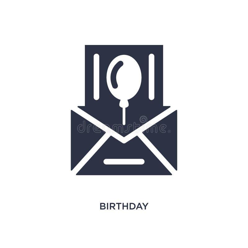 urodzinowa zaproszenie ikona na białym tle Prosta element ilustracja od przyjęcia urodzinowego i ślubu pojęcia ilustracja wektor