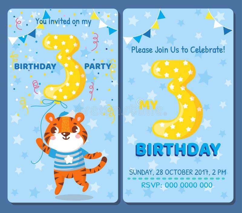 Urodzinowa zaproszenie karta z ślicznym zwierzęciem royalty ilustracja