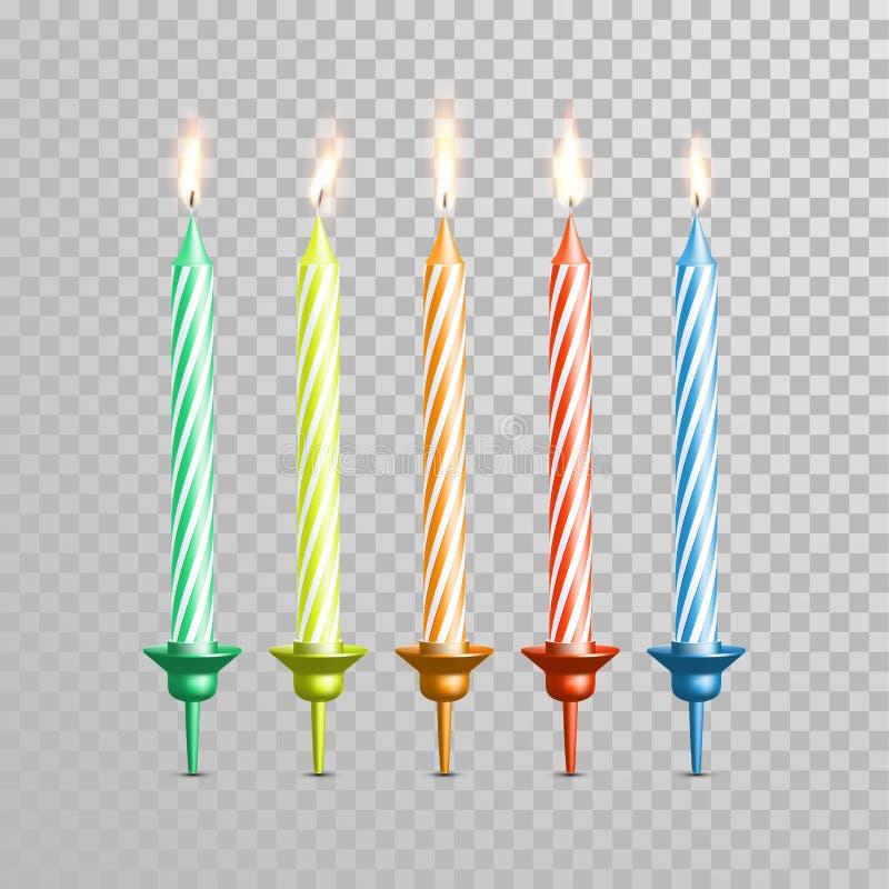 Urodzinowe świeczki dla ślubnego torta barwią wektorowego świeczka set ilustracja wektor