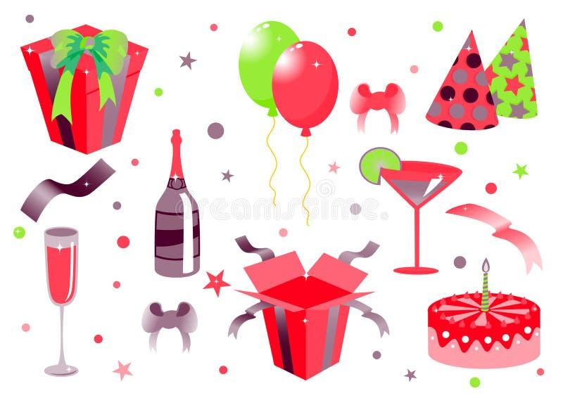 urodzinowe ikony royalty ilustracja