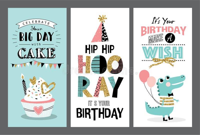 Urodzinowe karty ilustracja wektor