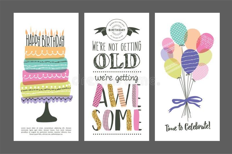 Urodzinowe karty ilustracji
