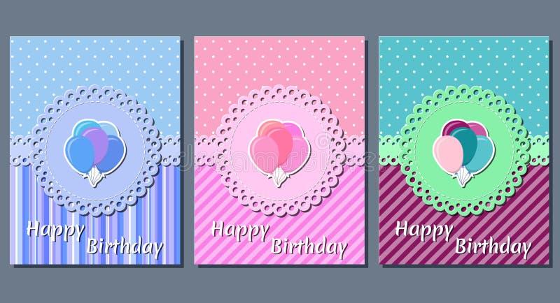 Urodzinowe karty Wakacyjni szablony również zwrócić corel ilustracji wektora ilustracji