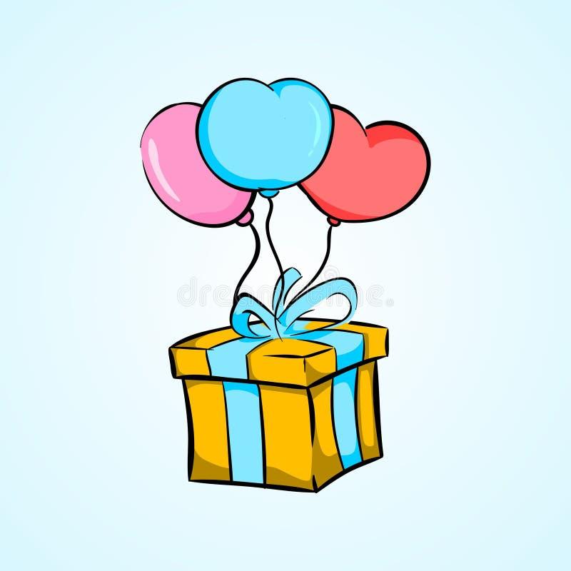 Urodzinowego ballon inkasowy ustalony ilustracyjny prosty styl ilustracja wektor
