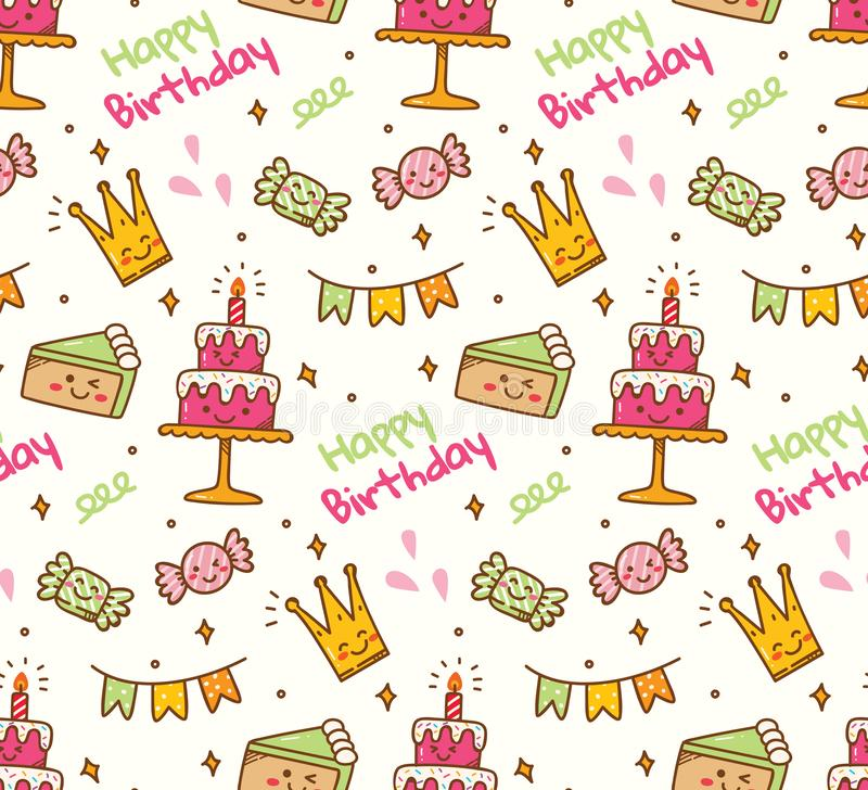 Urodzinowego doodle bezszwowy tło z kawaii urodzinowym materiałem ilustracji