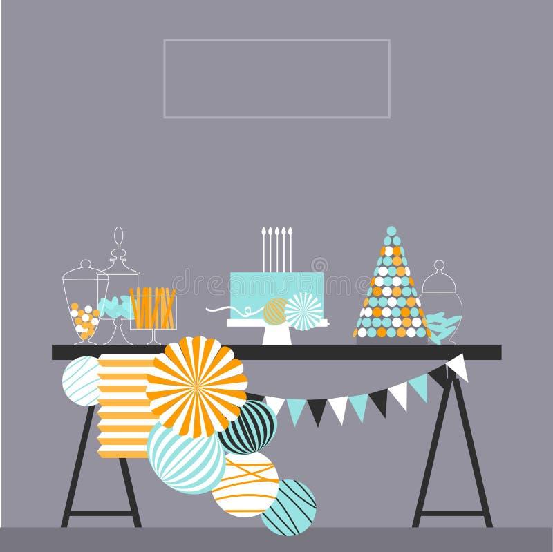 urodzinowego torta świeczek ilustraci wektor Słodki bufet z papierem Pom Poms i ilustracji