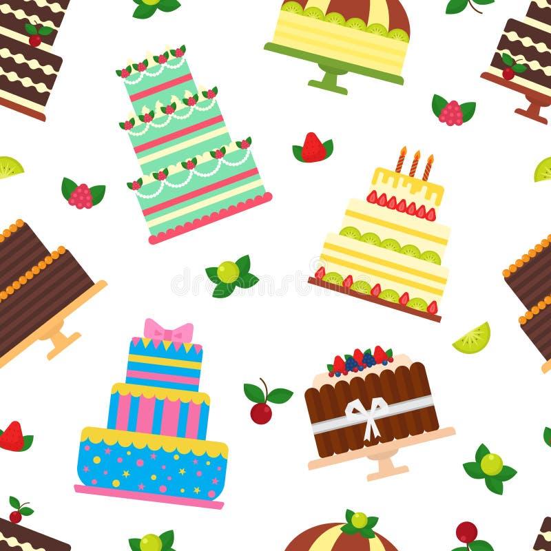 Urodzinowego torta cheesecake wektorowa babeczka dla szczęśliwego narodziny przyjęcia piec czekoladowego tort i deser od piekarni ilustracji