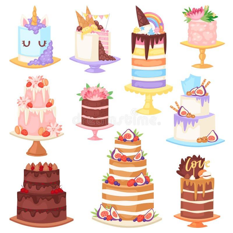 Urodzinowego torta cheesecake wektorowa babeczka dla szczęśliwego narodziny przyjęcia piec czekoladowego tort i deser od piekarni royalty ilustracja