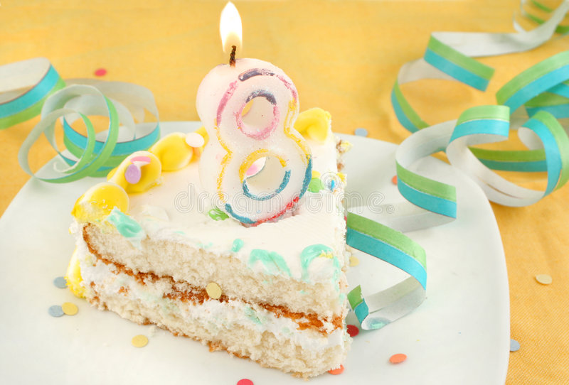 urodzinowego torta eighth plasterek obrazy stock