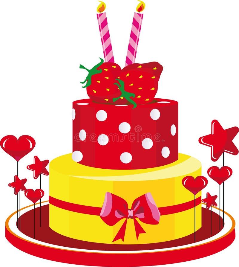 urodzinowego torta gratulacj truskawki royalty ilustracja