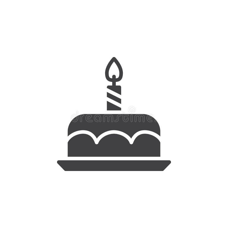 Urodzinowego torta ikony wektor, wypełniający mieszkanie znak, stały piktogram odizolowywający na bielu ilustracji