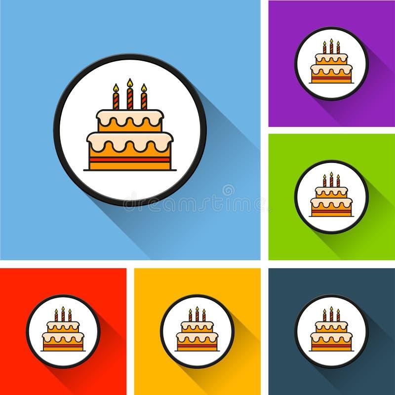Urodzinowego torta ikony z długim cieniem ilustracja wektor