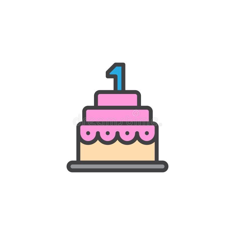 Urodzinowego torta konturu wypełniająca ikona royalty ilustracja
