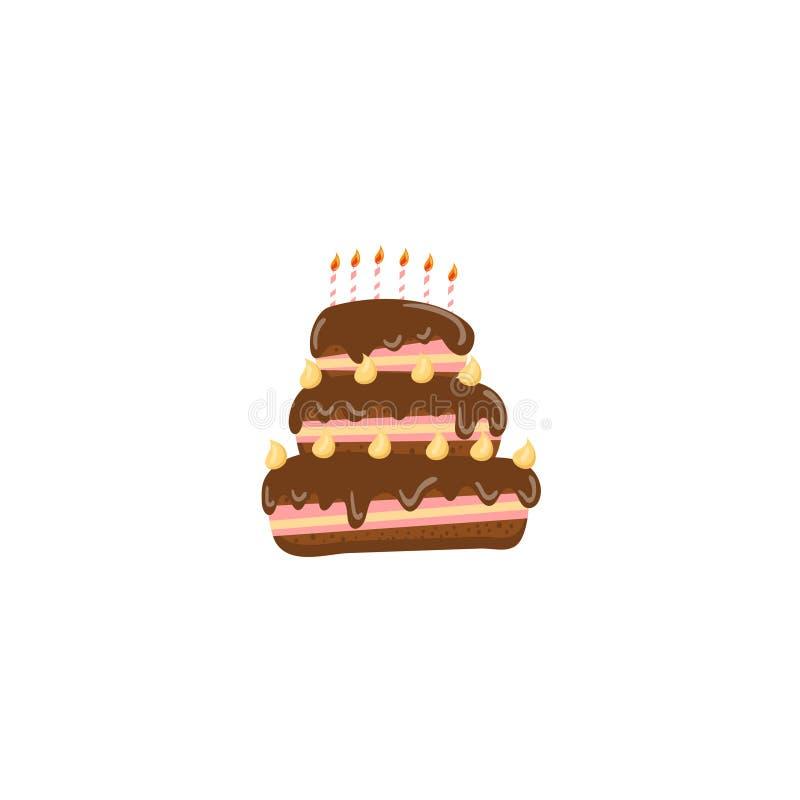 Urodzinowego torta kreskówki wektoru ilustracja ilustracji