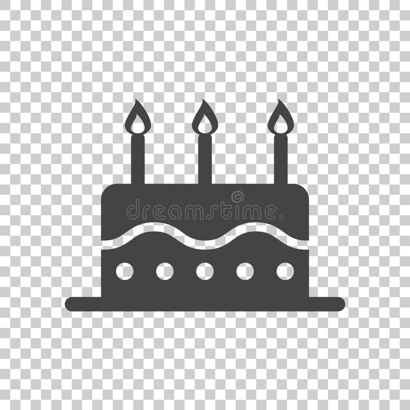 Urodzinowego torta mieszkania ikona Świeży pasztetowy słodka bułeczka na odosobnionym tle ilustracja wektor