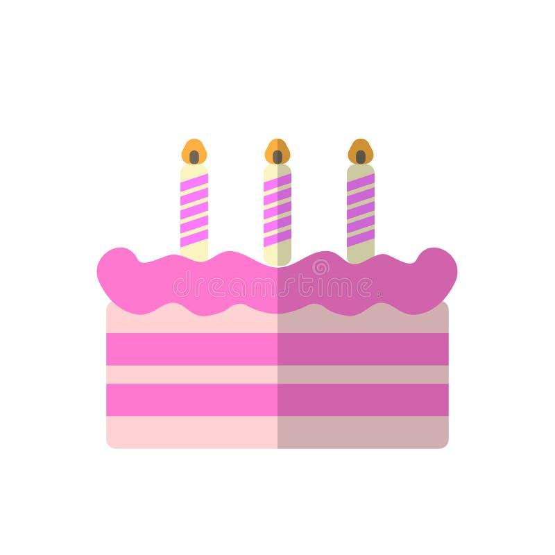 Urodzinowego torta płaska ikona, wypełniający wektoru znak, kolorowy piktogram odizolowywający na bielu royalty ilustracja