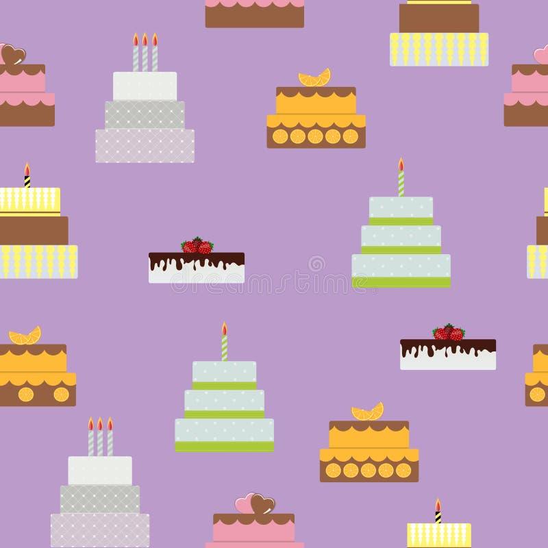 Urodzinowego torta Płaskiej ikony Bezszwowy Deseniowy tło dla Twój Des royalty ilustracja