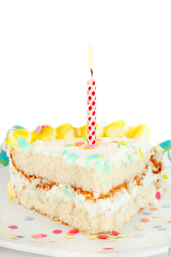 urodzinowego torta plasterek zdjęcie royalty free