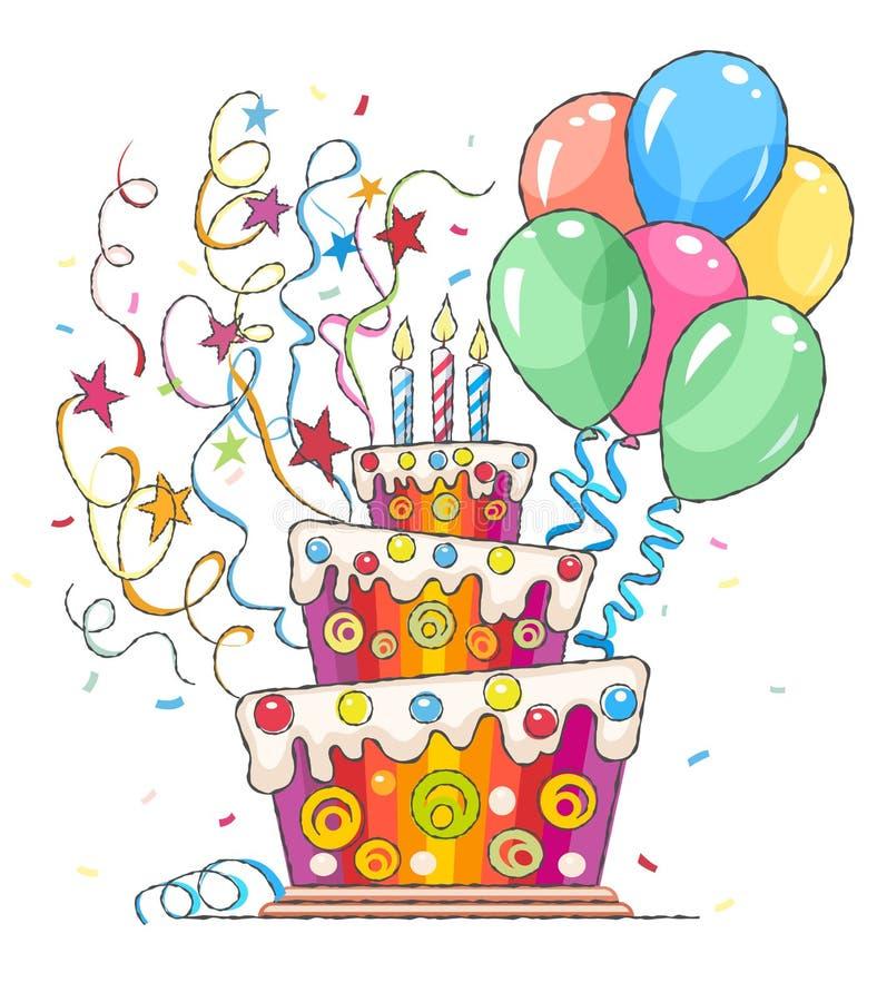 Urodzinowego torta powitania dla wakacje i piłki ilustracja wektor
