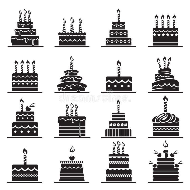 Urodzinowego torta set royalty ilustracja