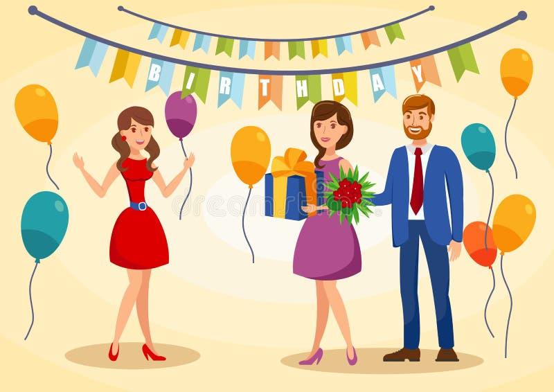 Urodzinowej kartki z pozdrowieniami Płaska Wektorowa ilustracja ilustracja wektor