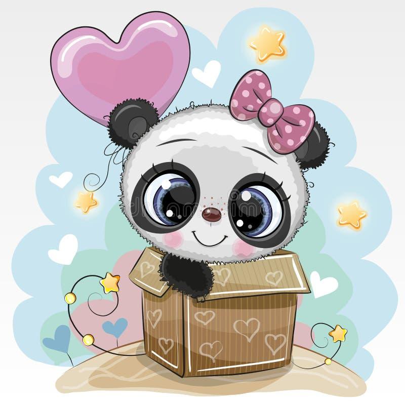 Urodzinowej karty ?liczna panda i balon royalty ilustracja