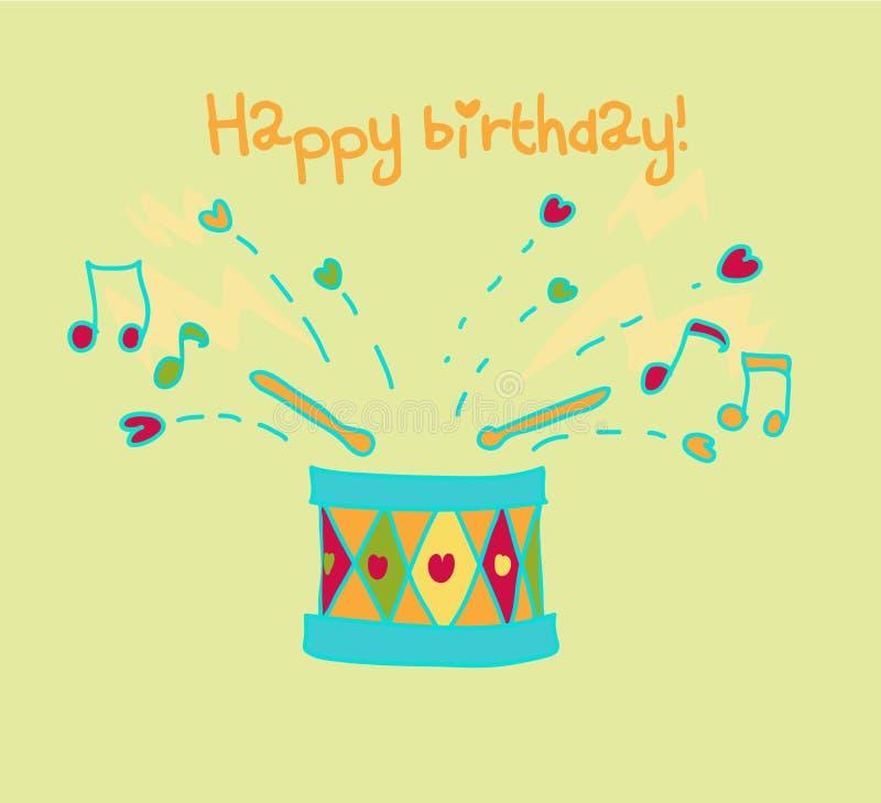 urodzinowej karty bęben szczęśliwy ilustracja wektor
