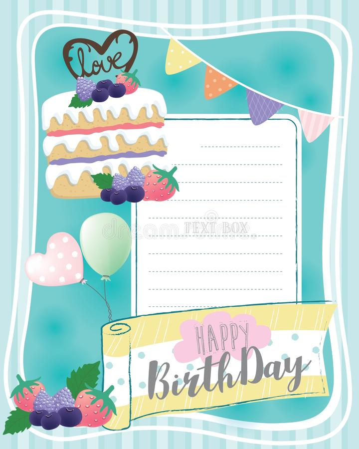 Urodzinowej karty & jagody tort obrazy royalty free