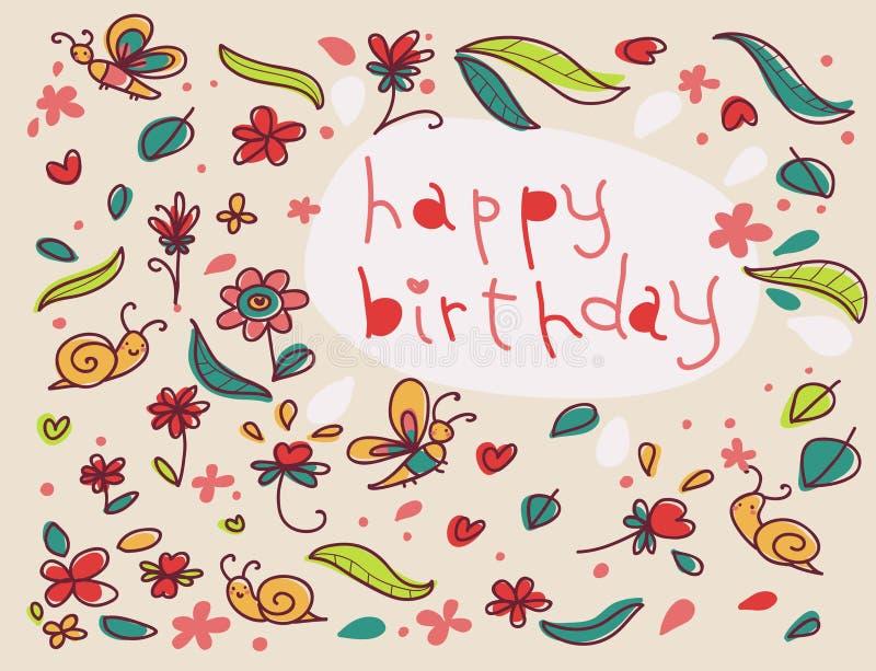 urodzinowej karty powitania szczęśliwi ilustracja wektor