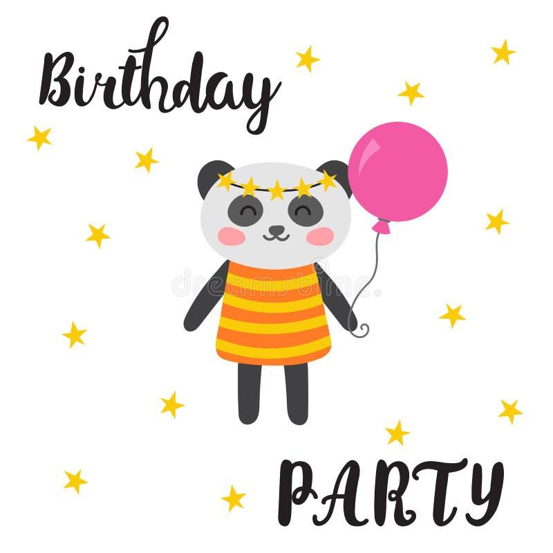 urodzinowej karty powitanie szczęśliwy Śliczna pocztówka z śmieszną małą pandą zwierząt kreskówka rysujący ręka odizolowywający w royalty ilustracja