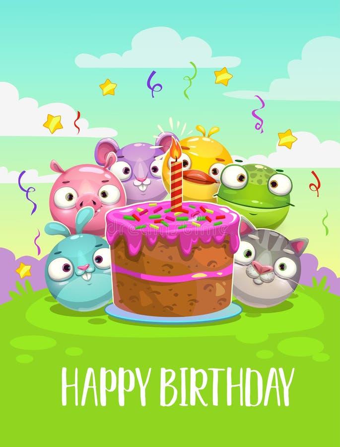 urodzinowej karty powitanie szczęśliwy Wektorowa Urodzinowa ilustracja z śmiesznymi round zwierzętami royalty ilustracja