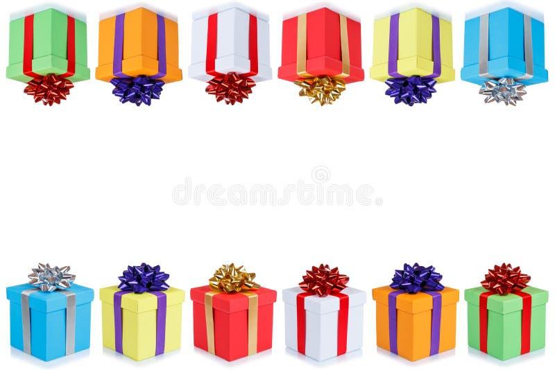 Urodzinowej karty prezentów bożych narodzeń teraźniejszość copyspace kopii przestrzeni boxe royalty ilustracja