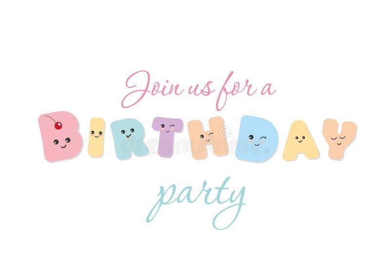 urodzinowej karty prezenta królik Kawaii śmiali kolorowi listy Śliczni majcherów emoticons ilustracji