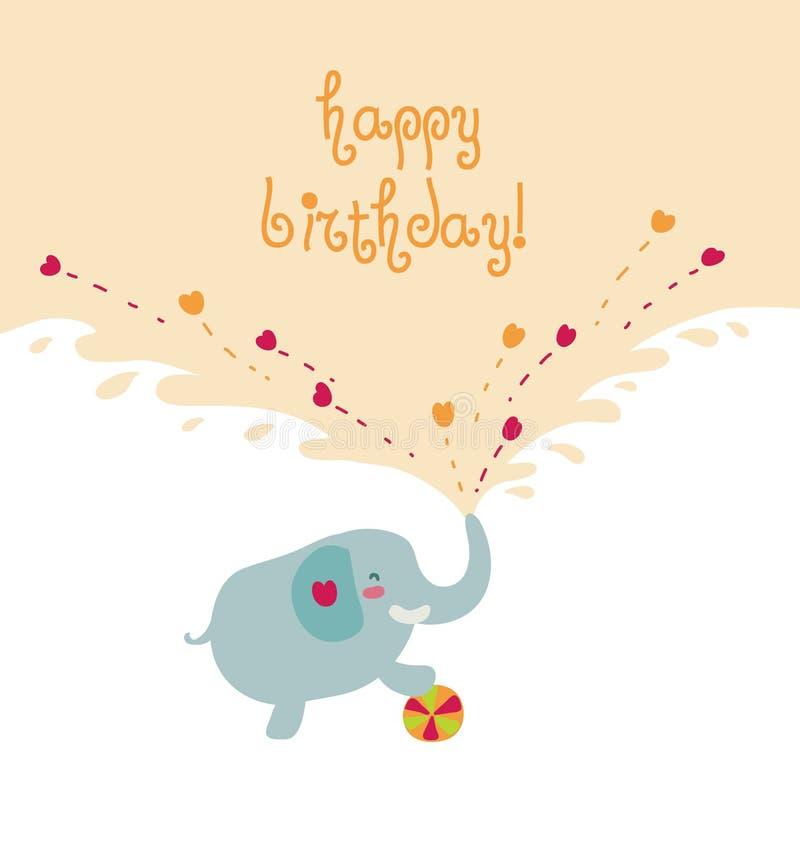 urodzinowej karty słoń szczęśliwy royalty ilustracja