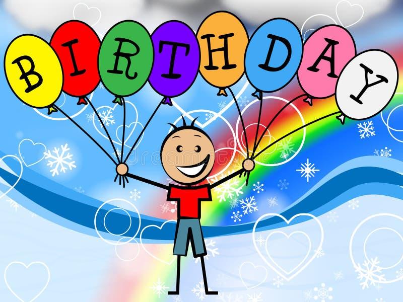 Urodzinowi balony Reprezentują młodzienów dzieciaków I Świętują ilustracji