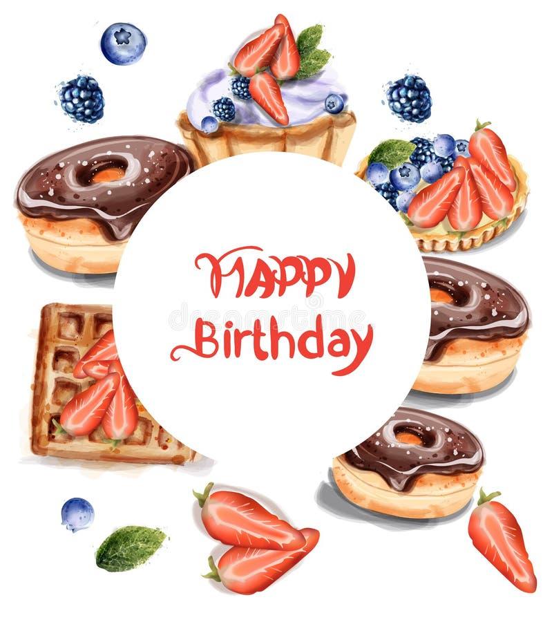 Urodzinowi donuts babeczki i blinu zaproszenie gręplują Wektorową akwarelę Czekoladowi truskawkowi słodcy wystroje ilustracji
