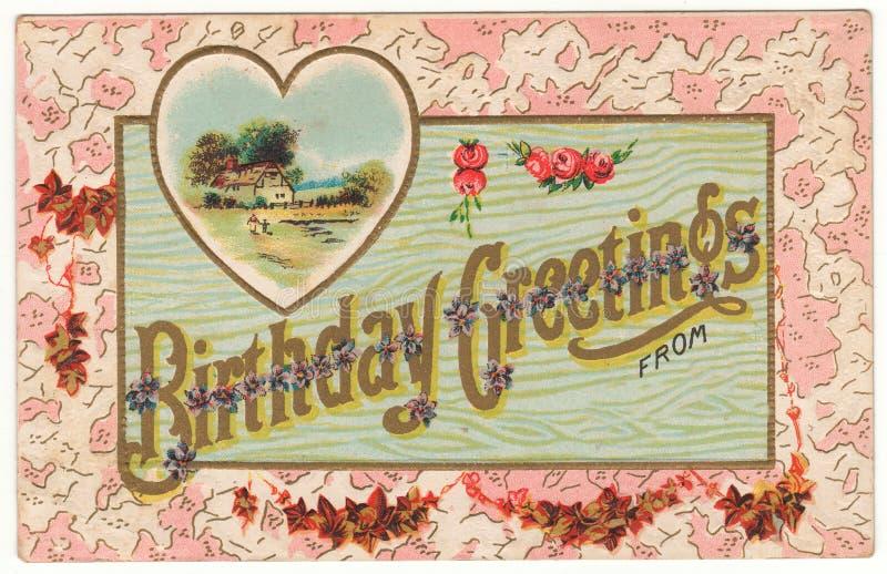 Urodzinowi powitania Od rocznik pocztówki zdjęcie stock